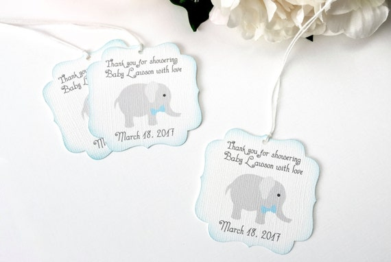 elephant baby shower favor tags boy baby shower thank you favor tag