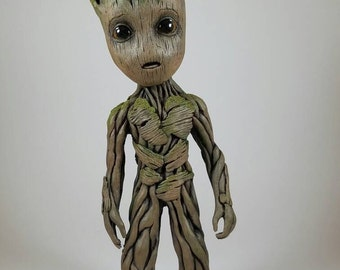 "Life size baby Groot sculpture 9.5"" tall"