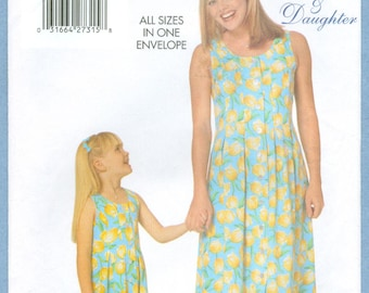 1998 Misses' Children's Girls' Sleeveless, Front Tuck Dress Mother Daughter Uncut Factory Fold Size XS,S,M,L - Butterick Sewing Pattern 5492