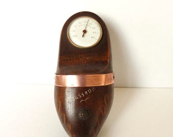 French Thermometer, Vintage Thermometer, Clog, wooden shoe, Collectible French, rustic french decor, mid century decor, 1950