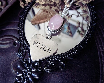 Witch Love Pendant, Rose Quartz Pendant, Witchy, Witch Charm, Witch Heart, Pink Crystal
