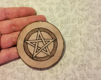 Small Birch Pentacle Woodburned Travel Size Pentagram Disk, Wicca Pagan Magick Ritual Tool