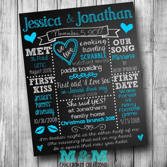 Wedding Love Story Chalkboard Customized Engagement Bridal Shower Chalk Board Blue Teal Turquoise Grey Silver White