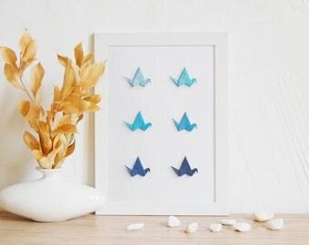 Christmas Gift, Origami Crane, Blue Wall Art, Home Wall Art, Minimalist Poster, Bird Wall Art, Office Wall Decor, Origami Gift, Winter Art
