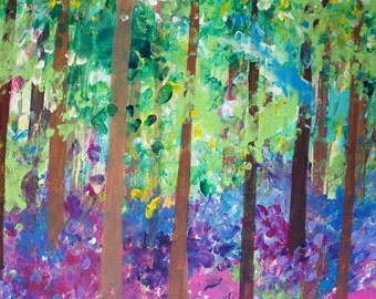 Bluebell Woods - Acrylic on 60 x 90cm canvas. Forest, landscape painting, nature, flowers, vibrant, abstract, colourful, British, trees, UK
