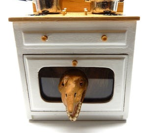 """Dollhouse Miniature oven with a surprise visitor - """"Someone's in the kitchen with dino....."""""""