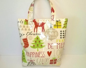 Christmas tote bag, oilcloth shopping bag, festive tote bag, water resistant bag, Merry Christmas tote bag, wipe clean, holidays tote