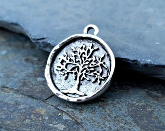 Tree of Life Coin Pendant Charm Silver N36,tree of life pendant,tree of life charm,tree of life coin,silver tree of life,silver tree pendant