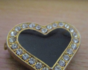 """vintage goldtone black enamel heart brooch/pin badge 3/4""""high surrounded by clear stones"""