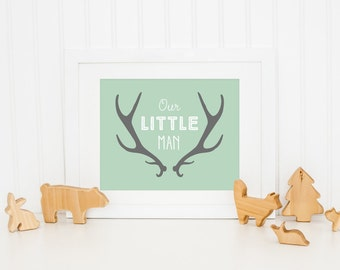 Our Little Man Printable Deer Antler Wall Art Nursery Quote Prints Camping Decor Woodland Wall Art Woodland Animal Mint Nursery Decor Gray