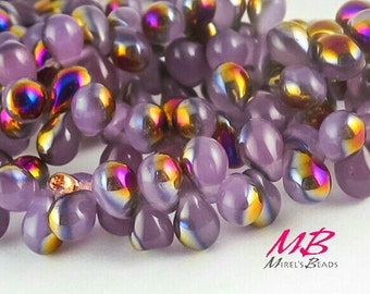 50 Tiny Teardrop Beads, 7x5mm Lilac Luster Czech Glass Beads