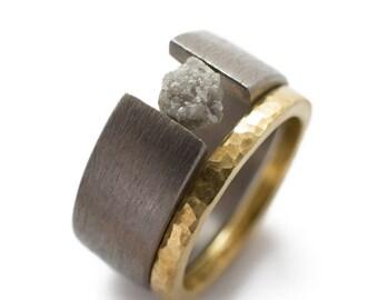 Unique Engagement Ring - Raw Diamond Tension Set In Titanium. raw diamond ring, rough diamond ring, bridal set, bridal ring sets.