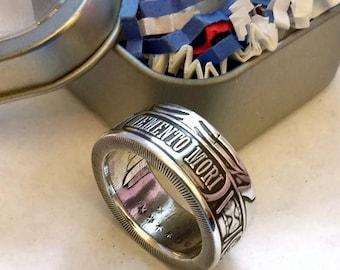 Memento Mori, Last Laugh Coin Ring Made From A Genuine 999 Fine Silver Round