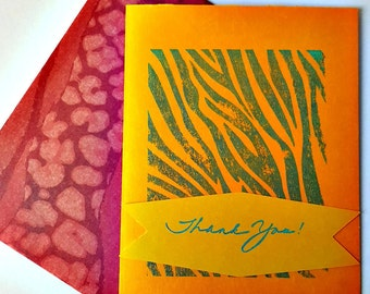 Elegant and Fun Animal Zebra Print Thoughtful Thank You Card