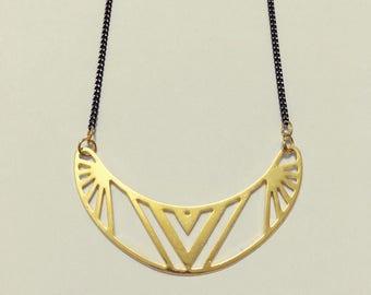 Geometric Semicircle Gold Necklace, Bar necklace, Curved Bar, Gold & Black, Modern, Minimalist, Aztec, Boho, Elegant Collar necklace