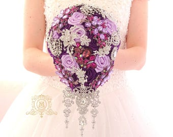BROOCH BOUQUET. Plum and lavender cascading teardrop broach boquet. Silver jeweled purple wedding bridal bouquet
