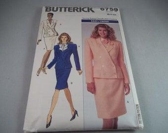 1988 Butterick 6759 Sewing Pattern Women's Career JACKET & SKIRT Size 6-8-10 Skirt is Cut Jacket is Uncut