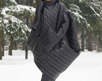 Waterproof Coat, Warm Coat, Winter Coat, Hooded Coat, Women Jacket, Quilted Coat, Plus Size Coat, Asymmetrical Jacket, Winter Jacket