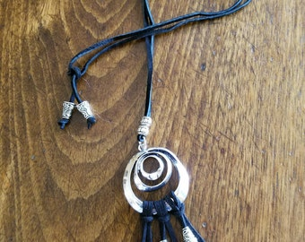 "Reclaimed silver lariat necklace,circles, black suede straps, silver bell beads, 18"" long, slider bead"