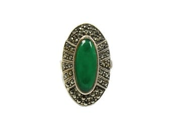Vintage large sterling silver marcasite ring, green onyx ring, large statement ring, statement, oval ring, size L ring, size 5 1/2 ring
