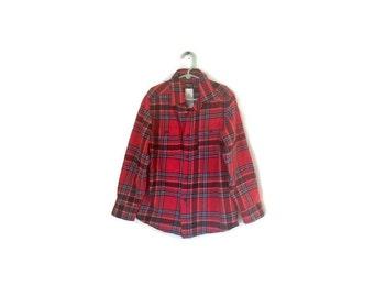 SALE Vintage  Kids Red Flannel Shirt 1980s Osh Kosh B Gosh HIPSTER clothing lumberjack button down shirt red plaid boys girls size 8 MEDIUM