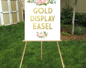 GOLD Easel . Wooden 5ft Floor Display Large Wedding Sign . Lightweight Foam Board or Canvas up to 24 x 36in . Hand Painted Gold White Black