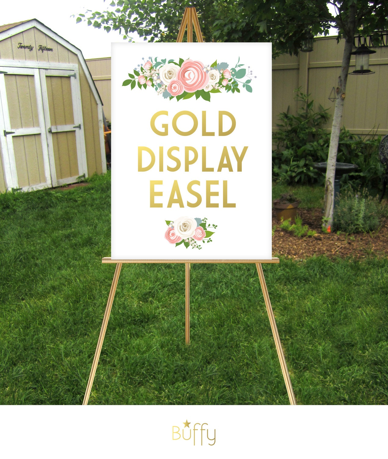 gold easel wood wedding sign floor stand display large