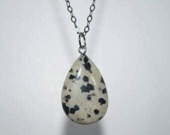 Dalmatian Jasper Pendant on Gunmetal Chain