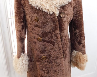 Vintage 60s 70s Mongolian Curly Lamb  Shearling  Coat, Fur Winter Coat M-Large