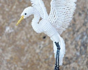 Egret Suncatcher, Great Egret Ornament, Bird Necklace, Hanging Decor, Bird Lover Gift, Beaded Bird Figurine, Car Window Decor/ Made to Order