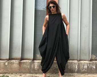 Plus Size Dress, Linen Long Dress, Black Maxi Dress, Gothic Dress, Balloon Dress, Draped Dress, Summer Dress, Black Wide Dress, Urban Dress
