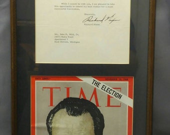 Old vintage 1961 typed letter signed by Richard Nixon US President signature framed with Time Magazine cover 1968 presidential election