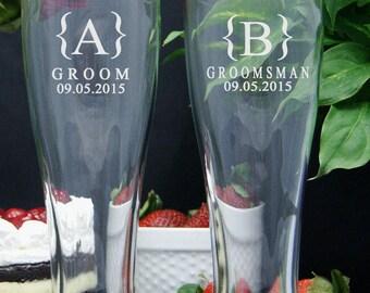 Personalized Beer Glasses / Custom Engraved Mug  / Groomsmen Gifts / Wedding Party Glasses / 16oz Pilsner / Set of 6 / 16 DESIGNS
