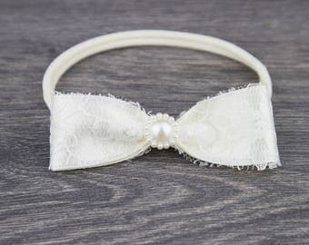 Ivory Bow Christening Headband - Baby Headband - Baptism Headband - Fabric Bow - Girls Headband - Baby Girl Headband - Lace Newborn Headband