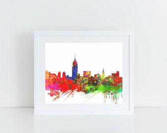 Cityscape Painting, New York Skyline, NYC Skyline, Printable Wall Art, Instant Download, 8x10, 11x14
