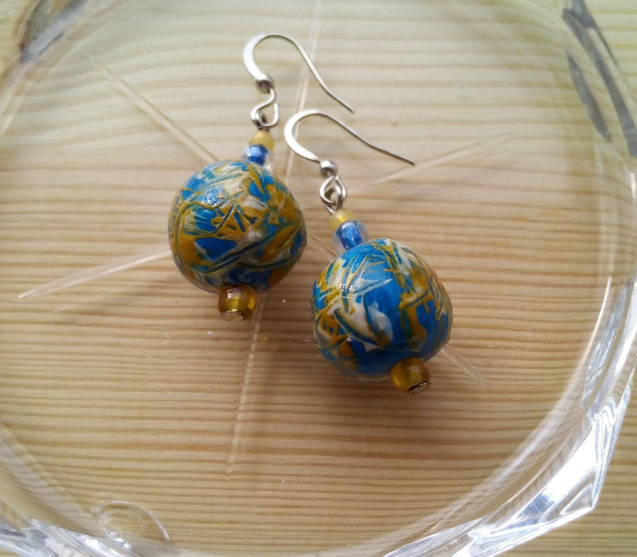 Ceramic Bead Beads: Ceramic Earrings Blue Drop Bead Earrings Ceramic Clay Earrings