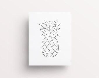 pineapple drawing. pineapple art, wall printable, print, geometric pineapple, drawing -