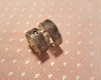 2 FINGERPRINT ring SET 2 fingerprints on each band in .999 SOLID Fine Silver-8mm wide-with hammered texture-anniversary bands