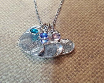 3 MEDIUM FINGERPRINT+birthstones Necklace in Fine .999 Silver.. 3 Medium precious charms on a Sterling Silver Chain