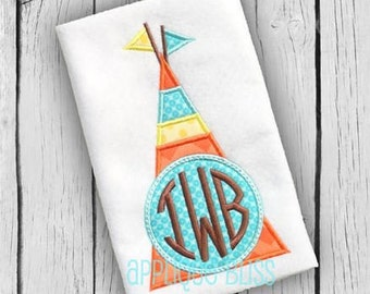 Teepee Applique Design - Camping - Summer - Monogram - Machine Embroidery - Indian - Native American - Arrows