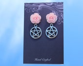 Pink Earrings, Pink Flowers, Floral Earrings, Pentagram Earrings, Pentacle Earrings, Wicca Earrings, Pagan Earrings, Witch Jewellery, Resin