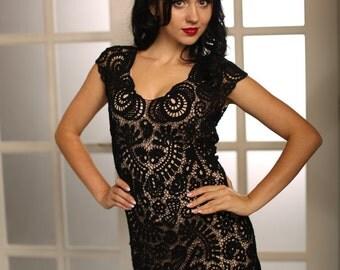 "Black Lace Dress ""Valery"" Cotton Bohemian"