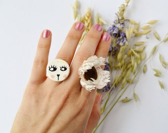 Cat ceramic ring Ceramic jewelry Porcelain ring Handmade ceramic jewellery Floral jewelry Botanical jewellery Statement ring