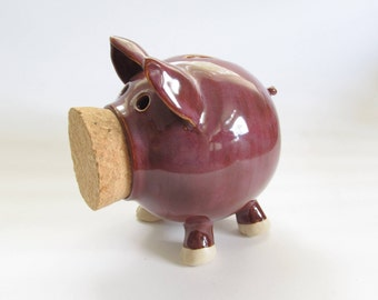 Pink Piggy Bank, Purple Piggy Bank, Pottery Piggy Bank, Ceramic Piggy Bank, Handmade Piggy Bank, Pig Sculpture, Pig Decor, Ceramic Coin Bank