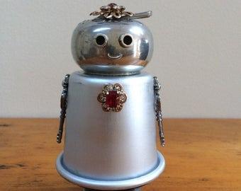 Metal robot sculpture, assemblage art, robot assemblage, found object robot, found objects, recycled robot, robot gift, Scarlet