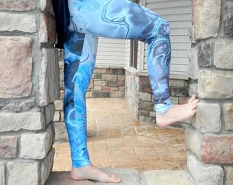 Marble Leggings - Blue Yoga Pants, Underwater Fractal Printed Tights, Digital Tye Dye Leggings