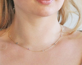 Delicate necklace, short necklace, dainty necklace, small bead necklace, elegant necklace, gold chain necklace, delicate chain necklace