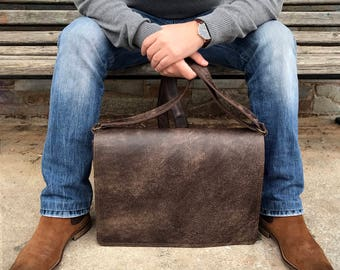CHOCOLATE BROWN leather BRIEFCASE luxury and spacious messenger bag, shoulder bag mens