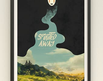 Studio Ghibli Spirited Away Poster // Spirited Away Wall Art // No Face Digital Painting Home Decor // Spirited Away No Face Poster Print