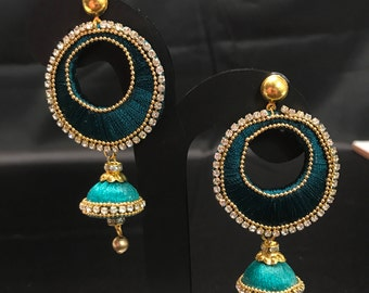 Teal Green Silk Thread Jewelry - Silk Thread Earrings - Indian Jewelry - Indian Earrings - Indian Bridal - Bollywood Earrings - Desi Jewelry